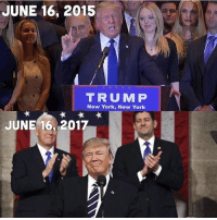 Memes, New York, and Time: JUNE 16, 2015  TRUMP  New York, New York  JUNE 16, 2017 We've come so far... time flies. Trumplicans PresidentTrump MAGA TrumpTrain AmericaFirst