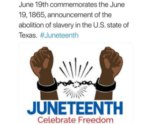 Texas, Freedom, and Announcement: June 19th commemorates the June  19,1865, announcement of the  abolition of slavery in the U.S. state of  Texas. #Juneteenth  JUNETEENTH  Celebrate Freedom