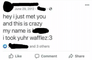 Crazy, Facebook, and Her: June 29, 2012  hey i just met you  and this is crazy  my name is  i took yuhr wafflez:3  and 3 others  Like  Share  Comment Her facebook