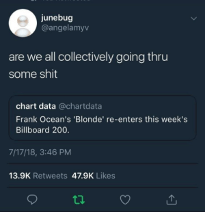 Bailey Jay, Billboard, and Dank: junebug  @angelamyv  are we all collectively going thru  some shit  chart data @chartdata  Frank Ocean's 'Blonde' re-enters this week's  Billboard 200.  7/17/18, 3:46 PM  13.9K Retweets 47.9K Likes  ta We all losing our self control by waseem_the_dream FOLLOW HERE 4 MORE MEMES.