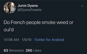 Android, Life, and Twitter: Junie Dyana  @DyanaTweets  Do French people smoke weed or  oui'd  10:06 AM 1/9/19 Twitter for Android  63 Retweets 260 Likes Ouid 4 life kids