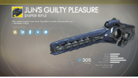 """Reddit, Regret, and The Prophet: JUN'S GUILTY PLEASURE  SNIPER RIFLE  What madness Sangheili honor can be. They should be careful lest they lose their way.""""  The Prophet of Regret  WEAPON PERK  Impact  Range  Stability  305  Reload Speed  ATTACK  Rounds Per Minute 140  Magazine 21"""