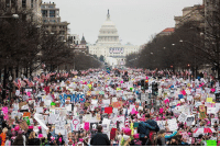 """Hundreds of thousands of people showed up to Washington D.C. to protest President Donald Trump. Many carried signs stating their disapproval of the new president. In this photo, one of the signs says """"God hates Trump."""" WomensMarchOnWashington Trump45: Jur Hundreds of thousands of people showed up to Washington D.C. to protest President Donald Trump. Many carried signs stating their disapproval of the new president. In this photo, one of the signs says """"God hates Trump."""" WomensMarchOnWashington Trump45"""