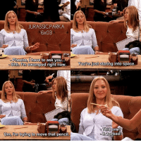 ✨😂😂 - { phoebebuffay rachelgreen funny friendstvshow}: JURASSIC.PARKA  Pheebs,0  Pheebs, I have to ask you...  Shh, U'm swamped right now  You're just staring into space  This  one  Um, im trying to move that penc  lt  t worked! ✨😂😂 - { phoebebuffay rachelgreen funny friendstvshow}