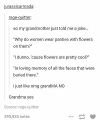 "Grandma, Omg, and Cool: jurassicarmada:  rage-quitter:  so my grandmother just told me a joke...  ""Why do women wear panties with flowers  on them?""  ""I dunno, 'cause flowers are pretty cool?""  ""In loving memory of all the faces that were  buried there.  i just like omg grandMA NO  Grandma yes  Source: rage-quitter  395,935 notes grandma jokes https://t.co/PzURMgqyCX"