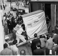 Ibm, Harddrive, and Just: Just 5 MB harddrive being shipped by IBM in 1956.