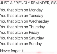 : JUST A FRIENDLY REMINDER, SIS  You that bitch on Monday  You that bitch on Tuesday  You that bitch on Wednesday  You that bitch on Thursday  You that bitch on Friday  You that bitch on Saturday  You that bitch on Sunday  Never forget it.