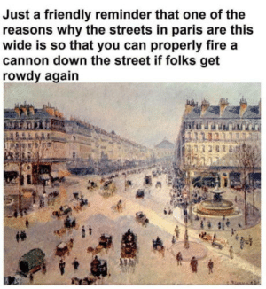 Fire, Streets, and Paris: Just a friendly reminder that one of the  reasons why the streets in paris are this  wide is so that you can properly fire a  cannon down the street if folks get  rowdy again Also for them panzer divisions