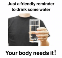 Memes, Water, and 🤖: Just a friendly reminder  to drink some water  Your body needs it! https://t.co/V2kakqtgvt