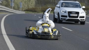 Just a giant rabbit driving a non street-legal gokart on M0 motorway, Eastern monday, at Budapest.: Just a giant rabbit driving a non street-legal gokart on M0 motorway, Eastern monday, at Budapest.