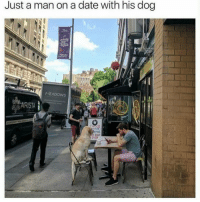 Goals 😂😍 (@dogsbeingbasic @mrduketastic): Just a man on a date with his dog  ARISTA Goals 😂😍 (@dogsbeingbasic @mrduketastic)