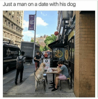 Problem?: Just a man on a date with his dog  MEADOWS  ARISTA Problem?