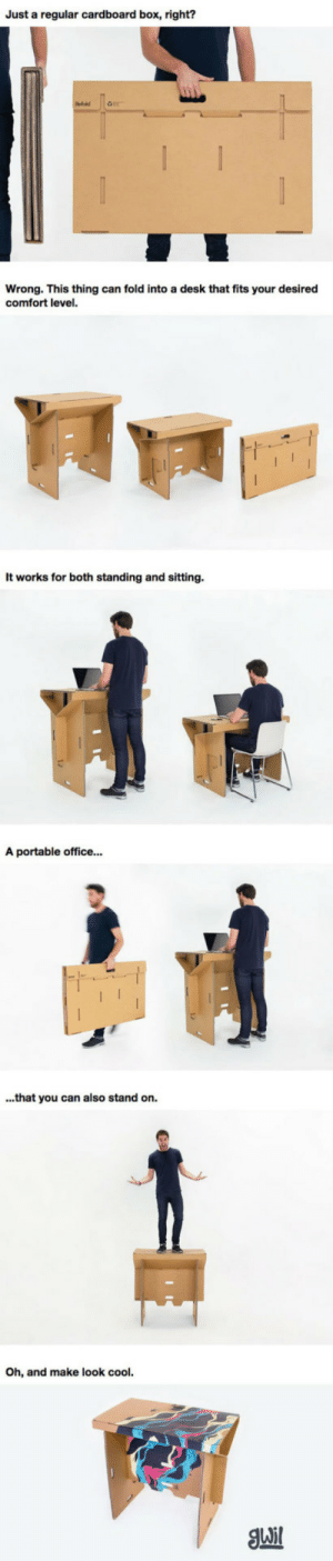 Tumblr, Blog, and Cool: Just a regular cardboard box, right?  Wrong. This thing can fold into a desk that fits your desired  comfort level.  It works for both standing and sitting  A portable office...  ...that you can also stand on.  h, and make look cool. srsfunny:It May Look Like A Cardboard Box, But It's So Much More