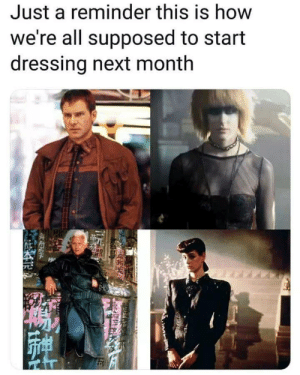 80s, Tumblr, and Blog: Just a reminder this is how  we're all supposed to start  dressing next month hesitantlola: vikinglumberjack:  sashibunbun:  Next month?  Most 70s and 80s post apocalyptic fiction were set in 2019/2020.   Alternatively