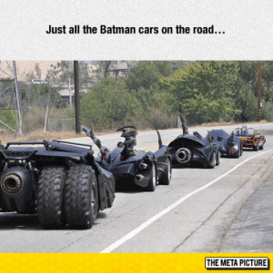 srsfunny:  Batmobile Heaven: Just all the Batman cars on the road.  THE META PICTURE srsfunny:  Batmobile Heaven