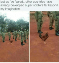 Memes, Soldiers, and 🤖: just as i've feared.. other countries have  already developed super soldiers far beyond  my imagination.