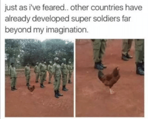 Not sure where I got this masterpiece via /r/memes https://ift.tt/2ZGrrpn: just as i've feared.. other countries have  already developed super soldiers far  beyond my imagination. Not sure where I got this masterpiece via /r/memes https://ift.tt/2ZGrrpn