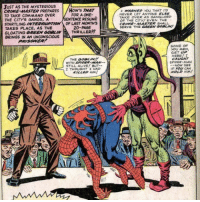 Green Goblin always taking it a step too far: JUST AS THE MYSTERIOUS  CRIME-MASTER PREPARES HOW'S THAT  TO TAKE COMMAND OVER  THE CITY'S GANGS, A  STARTLING INTERRUPTIOW OF LAST MONTH'S  TAKES PLACE, AS THE  GLOATING GREEN GOBLINTHRILLER??  BRINGS IN AN UNCONSCIOUS  WARWED YOU THAT I'D  NEVER LET ANYONE ELSE  TAKE OVER AS SANGLORD  OF THE CITY! EVEN THE  CRIME MASTER SHALL  SERVE THE GREEN GOBLIN!  FOR A ONE-  SENTENCE RESUME  20-PAGE  PRISOWER  SOME OF  YOU MEN  GET UP  HERE! I  CAUGAT  SPIDER-MAN  THE GOBLIN!  WITH SP  STILL ALIVE BUT--  THOUGHT HAD  KILLED HM!  NOW SEE  F yoU CAN  HOLD HM Green Goblin always taking it a step too far