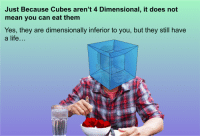 """Life, Reddit, and Mean: Just Because Cubes aren't 4 Dimensional, it does not  mean you can eat them  Yes, they are dimensionally inferior to you, but they still have  a life... <p>[<a href=""""https://www.reddit.com/r/surrealmemes/comments/7p985a/a_message_to_all_you_4_dimensional_people/"""">Src</a>]</p>"""