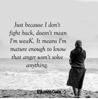 Mean, Fight, and Back: Just because I don't  fight back, doesn't mean  I'm weaK. lt means I'm  mature enough to know  that anger won't solve  anything.