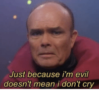 Evil: Just because i'm evil  doesn't mean i don't cry