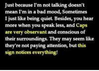 Bad, Mood, and Mean: Just because I'm not talking doesn't  mean I'm in a bad mood, Sometimes  I just like being quiet. Besides, you hear  more when you speak less, and caps  are very observant and conscious of  their surroundings. They may seem like  they're not paying attention, but this  sign notices everything! Thats the problem!!