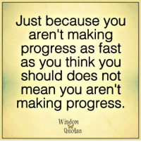 Blog, Inbox, and Mean: Just because you  aren't making  progress as fast  as you think you  should does not  mean you aren't  making progress.  Wisdom  Quotes Visit and subscribe to our blog! Get enriching & uplifting quotes right in your inbox: www.wisdomquotesandstories.com