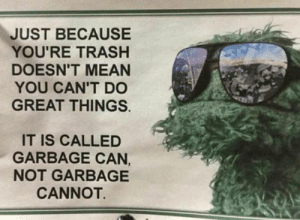Great Things: JUST BECAUSE  YOU'RE TRASH  DOESN'T MEAN  YOU CAN'T D0  GREAT THINGS.  IT IS CALLED  GARBAGE CAN,  NOT GARBAGE  CANNOT.