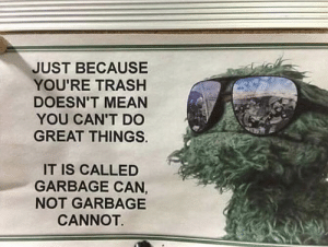 Funny, Trash, and Mean: JUST BECAUSE  YOU'RE TRASH  DOESN'T MEAN  YOU CAN'T DC  GREAT THINGS.  IT IS CALLED  GARBAGE CAN  NOT GARBAGE  CANNOT The kind of inspirational message we really need via /r/funny https://ift.tt/2FxUClW
