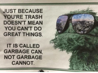 """Trash, Tumblr, and Blog: JUST BECAUSE  YOU'RE TRASH  DOESN'T MEAN  YOU CAN'T DO  GREAT THINGS.  IT IS CALLED  GARBAGE CAN,  NOT GARBAGE  CANNOT. <p><a href=""""http://memehumor.net/post/171546688915/nods"""" class=""""tumblr_blog"""">memehumor</a>:</p>  <blockquote><p>…….nods……..</p></blockquote>"""