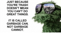 Memes, Trash, and Mean: JUST BECAUSE  YOU'RE TRASH  DOESN'T MEAN  YOU CAN'T DO  GREAT THINGS  IT IS CALLED  GARBAGE CAN,  NOT GARBAGE  CANNOT Dm to someone who is trash but amazing!