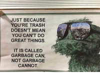 Oscar The Grouch: JUST BECAUSE  YOU'RE TRASH  DOESN'T MEAN  YOU CAN'T DO  GREAT THINGS.  IT IS CALLED  GARBAGE CAN,  NOT GARBAGE  CANNOT Oscar The Grouch