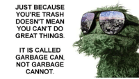Youre Trash: JUST BECAUSE  YOU'RE TRASH  DOESN'T MEAN  YOU CAN'T DO  GREAT THINGS.  IT IS CALLED  GARBAGE CAN,  NOT GARBAGE  CANNOT