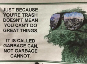 memehumor:  Inspirational: JUST BECAUSE  YOU'RE TRASH  DOESN'T MEAN  YOU CAN'T DO  GREAT THINGS.  IT IS CALLED  GARBAGE CAN,  NOT GARBAGE  CANNOT. memehumor:  Inspirational