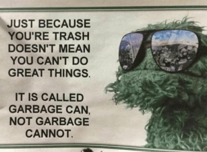 Garbage can make great things: JUST BECAUSE  YOU'RE TRASH  DOESN'T MEAN  YOU CAN'T DO  GREAT THINGS.  IT IS CALLED  GARBAGE CAN,  NOT GARBAGE  CANNOT. Garbage can make great things