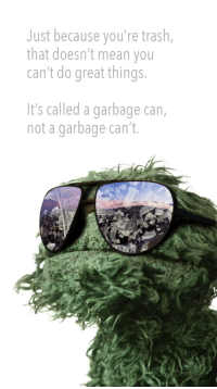 <p>Wholesome Oscar</p>: Just because you're trash,  that doesn't mean you  can't do great things  It's called a garbage can,  not a garbage can't. <p>Wholesome Oscar</p>