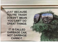 Me irl: JUST BECAUSE  YOU'RE TRASHH  DOESN'T MEAN  YOU CAN'T DO  GREAT THINGS.  IT IS CALLED  GARBAGE CAN,  NOT GARBAGE  CANNOT Me irl
