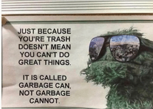 Me irl by SquidTheDan MORE MEMES: JUST BECAUSE  YOU'RE TRASHH  DOESN'T MEAN  YOU CAN'T DO  GREAT THINGS.  IT IS CALLED  GARBAGE CAN,  NOT GARBAGE  CANNOT Me irl by SquidTheDan MORE MEMES