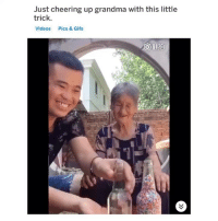 Grandma, Videos, and Gifs: Just cheering up grandma with this little  trick  Videos  Pics & Gifs awe she looks so happy