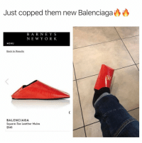 Sneaker game on point 😂 https://t.co/3aJsxVdRiI: Just copped them new Balenciaga  B A R NEY S  NEW Y O R K  MENU  Back to Results  BALENCIAGA  Square-Toe Leather Mules  $545 Sneaker game on point 😂 https://t.co/3aJsxVdRiI