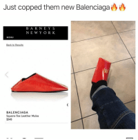 FASHUN: Just copped them new Balenciaga  BA R NEYS  NEW Y OR K  MENU  BALENCIAGA  Square-Toe Leather Mules  $545 FASHUN