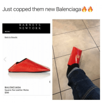 Must cop 🍟: Just copped them new Balenciaga  BAR NEY S  NE W Y ORK  MENU  Back to Results  BALENCIAGA  Square-Toe Leather Mules  $545 Must cop 🍟