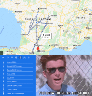 Just created a Rickroll using french cities and google Maps: Just created a Rickroll using french cities and google Maps