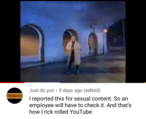 TRIGGERED: Just do pot  3 days ago (edited)  TRIGGERED  I reported this for sexual content. So an  employee will have to check it. And that's  how I rick rolled YouTube