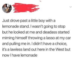 Deadass, Lemonade, and Boy: Just drove past a little boy with a  lemonade stand. I wasn't going to stop  but he looked at me and deadass started  miming himself throwing a lasso at my car  and pulling me in. I didn't have a choice,  it's a lawless land out here in the West but  now I have lemonade The west is a dangerous place