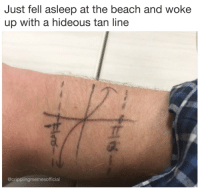 Tanning: Just fell asleep at the beach and woke  up with a hideous tan line  @cripplingmemesofficial