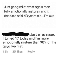 at what age a man fully emotionally mature