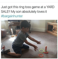 Ok someone please help the kid 😂😂😂: Just got this ring toss game at a YARD  SALE!! My son absolutely loves it  #bargain hunter Ok someone please help the kid 😂😂😂