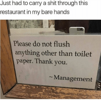 Funny, Shit, and Thank You: Just had to carry a shit through this  restaurant in my bare hands  Please do not flush  anything other than toilet  paper. Thank you.  Management 😒 nochill