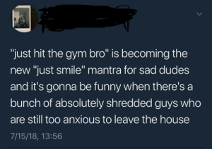 """meirl by AfraidOfAtttention FOLLOW HERE 4 MORE MEMES.: """"just hit the gym bro"""" is becoming the  new """"just smile"""" mantra for sad dudes  and it's gonna be funny when there's a  bunch of absolutely shredded guys who  are still too anxious to leave the house  7/15/18, 13:56  0 meirl by AfraidOfAtttention FOLLOW HERE 4 MORE MEMES."""